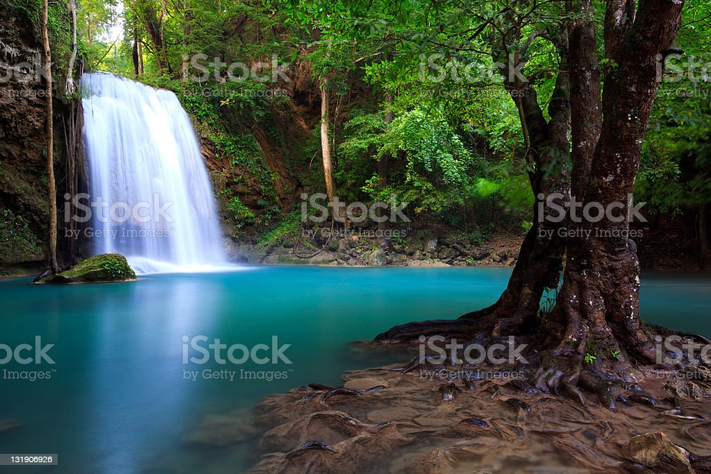 Scenic view of Erawan Waterfall in Kanchanaburi, Thailand royalty-free stock photo