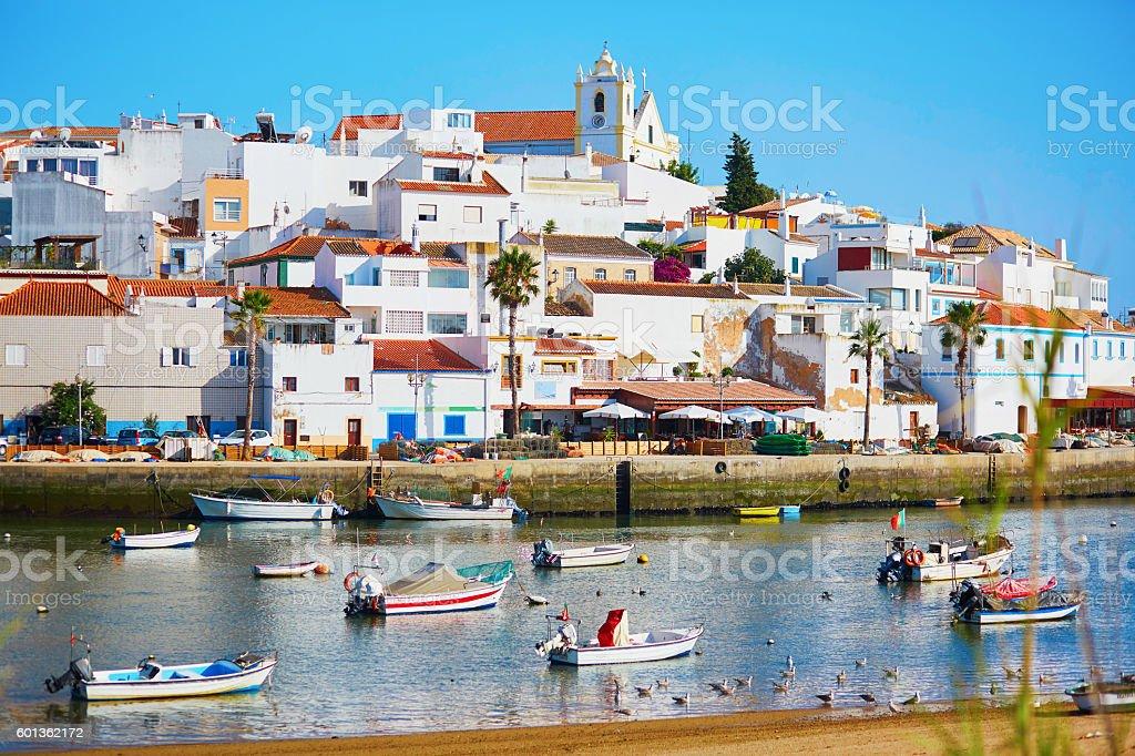 Scenic view of fishing boats in Ferragudo, Portugal - foto de stock