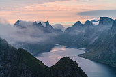 Scenic view of fjord in Norway in summer