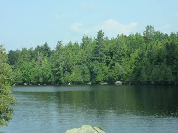 Scenic View of Fourth Lake stock photo