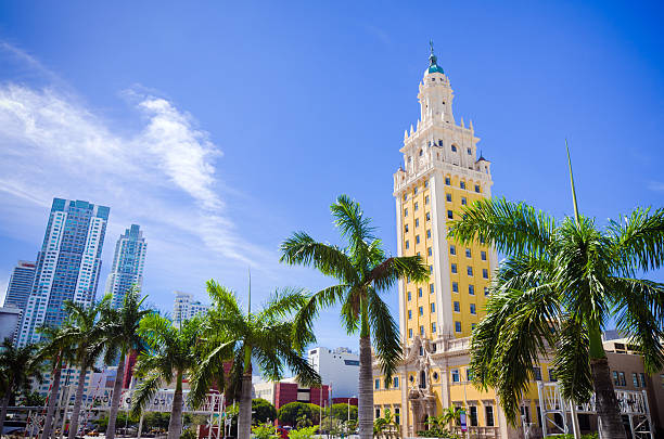 Scenic view of Freedom Tower in downtown Miami Florida stock photo