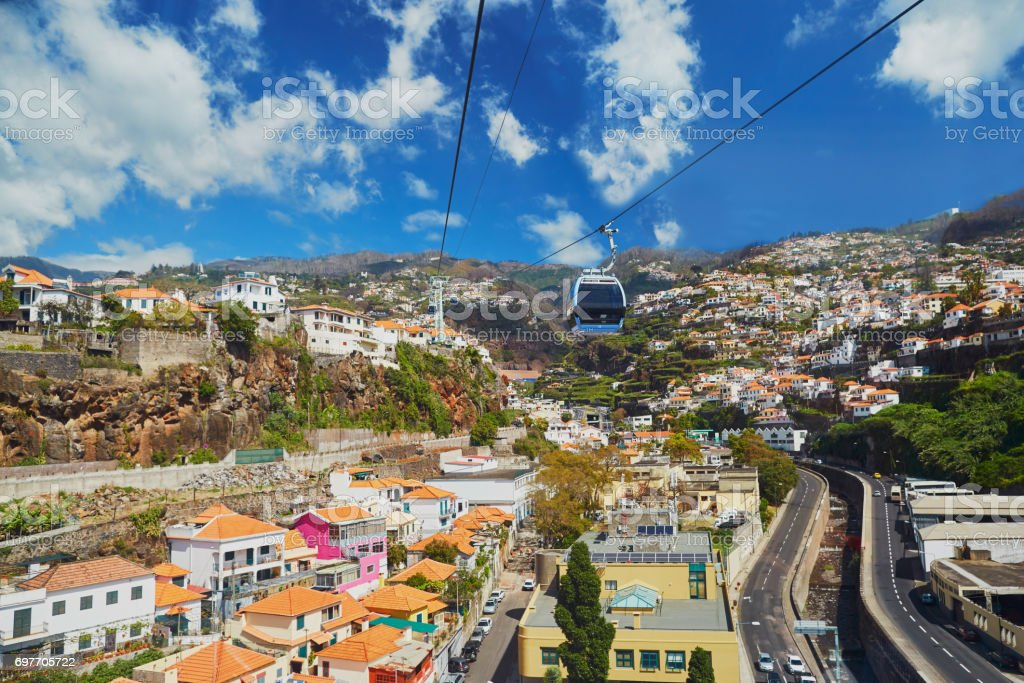 Scenic view of Funchal cable car, Madeira, Portugal - Royalty-free Arame Foto de stock