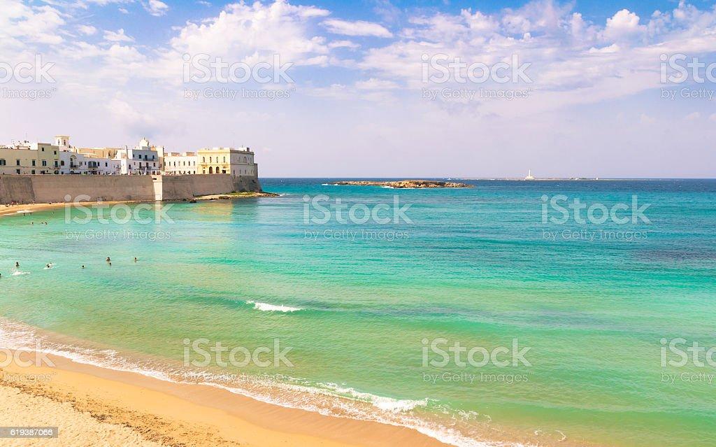 Scenic view of Gallipoli waterfront, Salento, Apulia, Italy. stock photo
