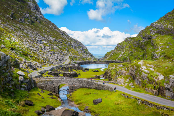scenic view of gap of dunloe, county kerry, ireland. - republic of ireland stock pictures, royalty-free photos & images