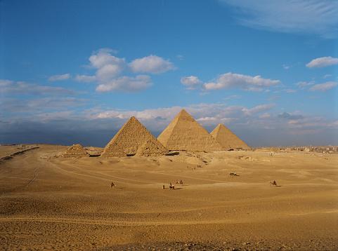 Scenic view of Giza pyramids at sunset. Medium format camera