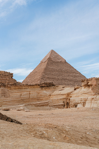 Scenic view of Giza pyramids at sunset