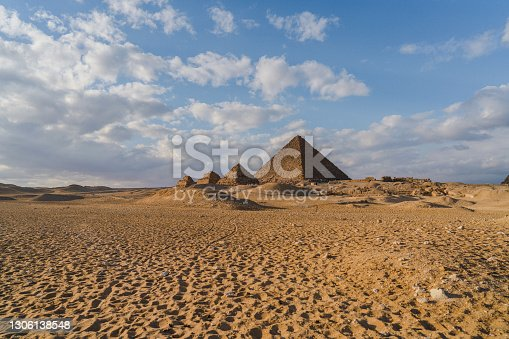 Scenic view of Giza pyramids at sunset. Medium format camera