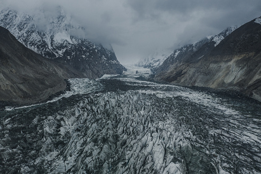 Scenic view of glacier in  mountains of Northern  Pakistan