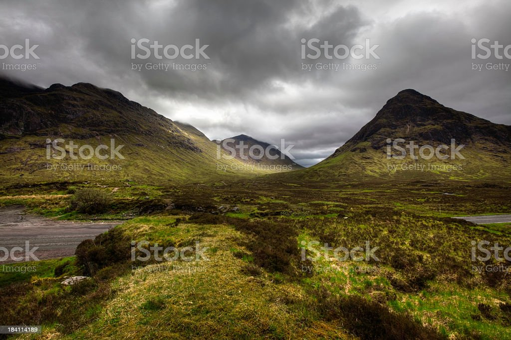 Scenic view of Glencoe Pass, Scotland on a dreary day royalty-free stock photo