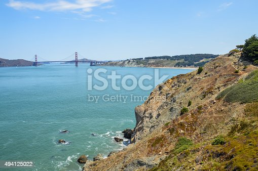 istock Scenic view of Golden Gate Bridge from Lands End Trail 494125022