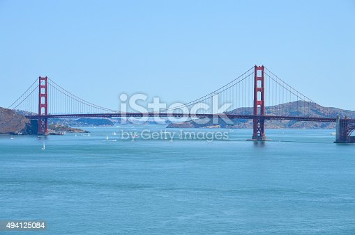 istock Scenic view of Golden Gate Bridge from Lands End Trail 494125084