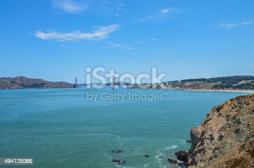 istock Scenic view of Golden Gate Bridge from Lands End Trail 494125086