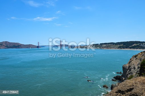 istock Scenic view of Golden Gate Bridge from Lands End Trail 494125642