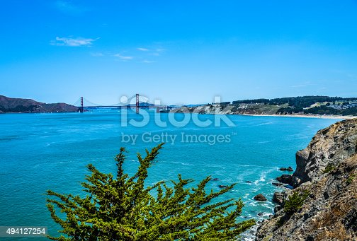 istock Scenic view of Golden Gate Bridge from Lands End Trail 494127254