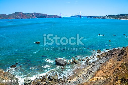 istock Scenic view of Golden Gate Bridge from Lands End Trail 494128112