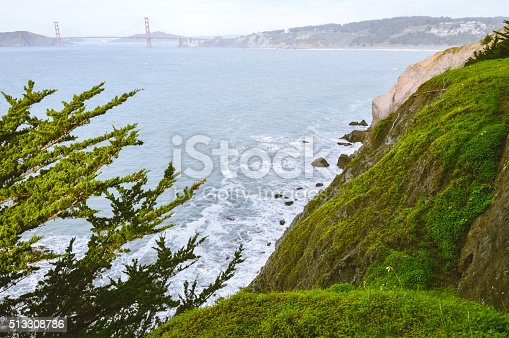 istock Scenic view of Golden Gate Bridge from Lands End Trail 513308786
