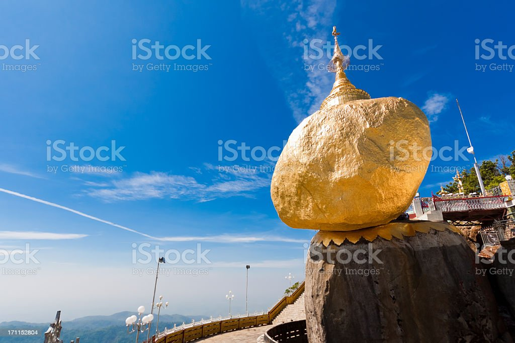 Scenic view of Golden Rock (Kyaiktiyo), Burma stock photo