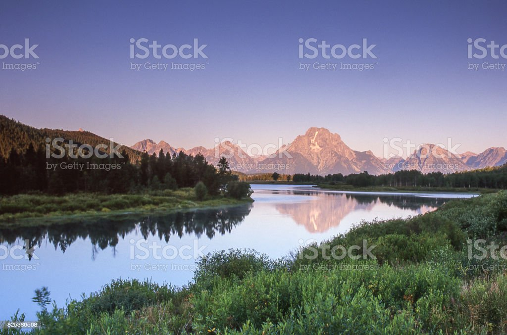 Scenic View of Grand Tetons and Snake River stock photo