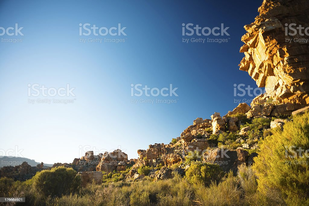 Scenic view of grass covered Cederberg Rock formations. royalty-free stock photo