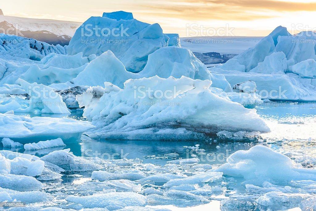 Scenic view of icebergs in glacier lagoon, Iceland Beautiful view of icebergs in Jokulsarlon glacier lagoon, Iceland;  selective focus Arctic Stock Photo