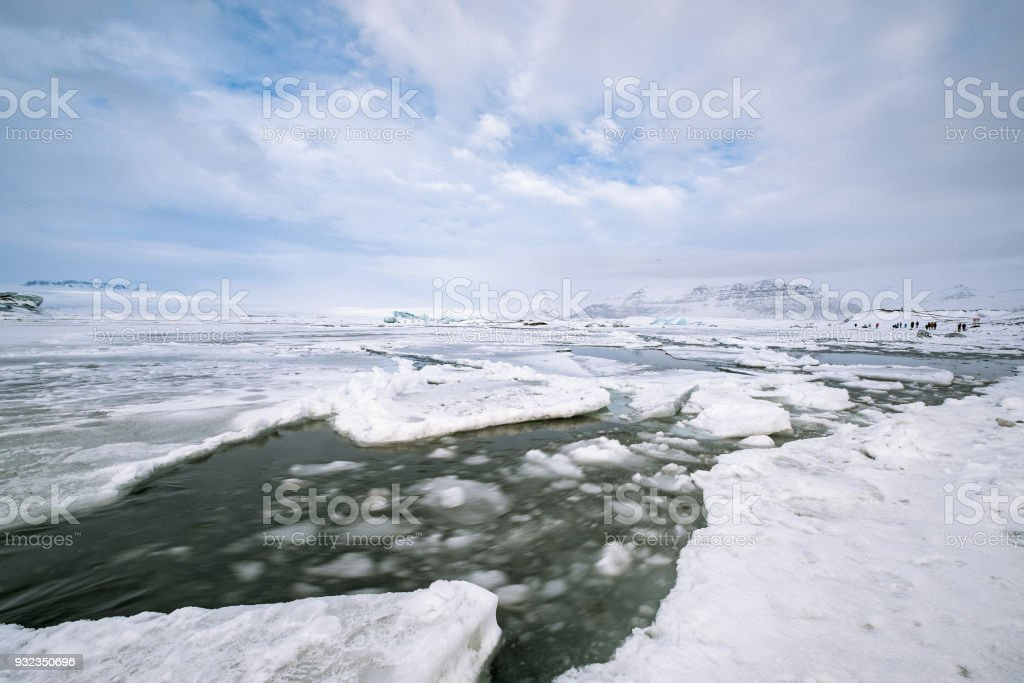 Scenic view of icebergs in Jokulsarlon Glacier Lagoon, Iceland. stock photo