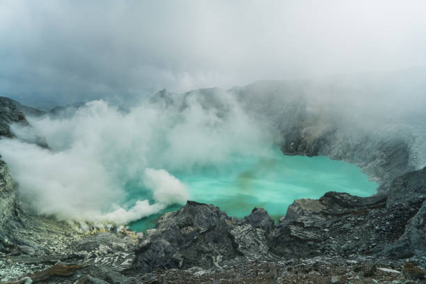Scenic view of Ijen volcano and sulphur minings stock photo