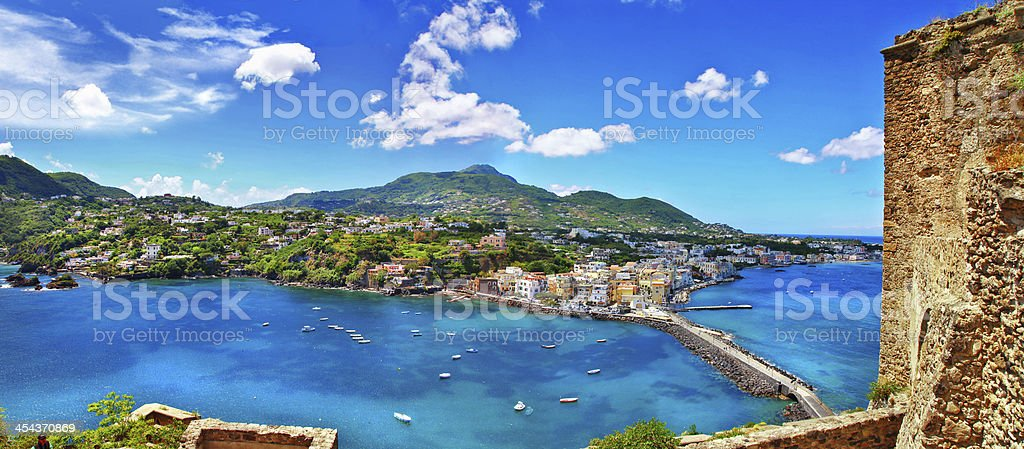A scenic view of Ischia Island in Italy stock photo