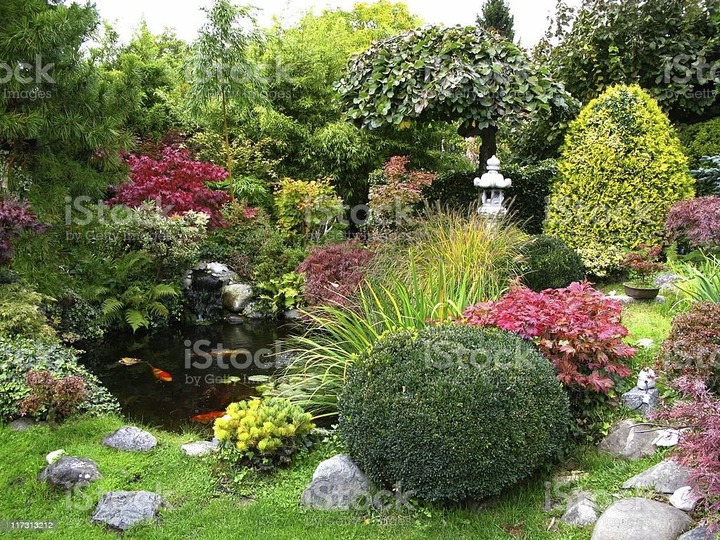 Scenic view of Japanese garden with koi-pond stock photo
