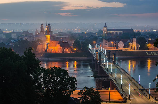 A scenic view of Kaunas Old Town in Lithuania at night stock photo