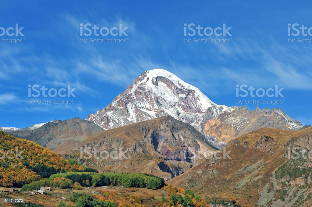 Scenic view of Kazbegi mountains in Georgia stock photo
