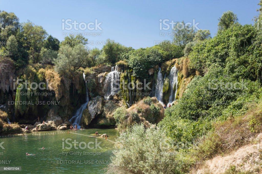 Scenic view of Kravica waterfalls in Bosnia Herzegovina stock photo