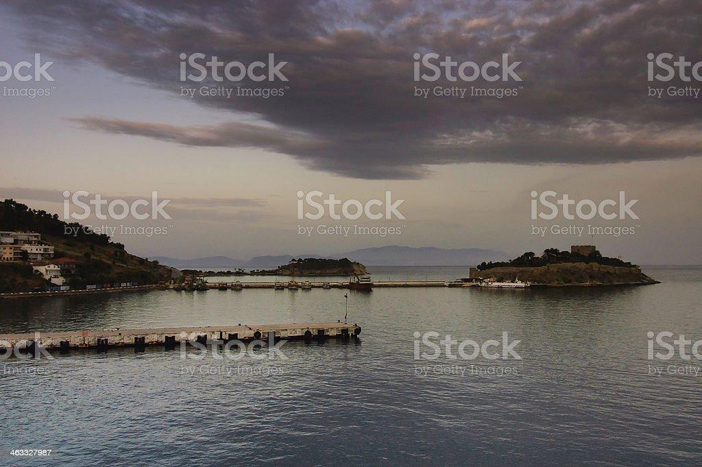 scenic view of Kusadasi port stock photo