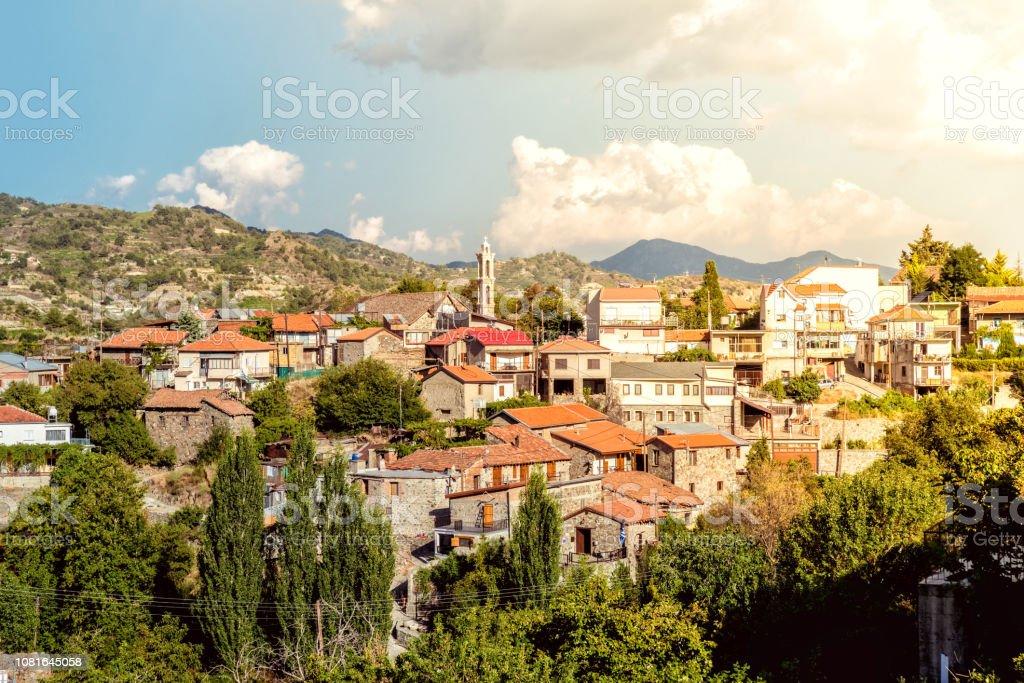 Scenic view of Kyperounta village. Limassol District, Cyprus stock photo