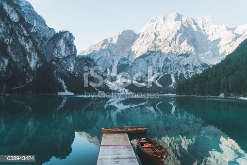 Scenic view of boats on Lago di Braies lake   in Dolomites