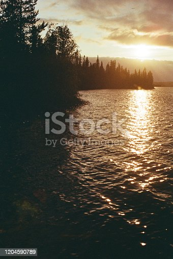 Scenic view of lake at sunset in Northern Norway