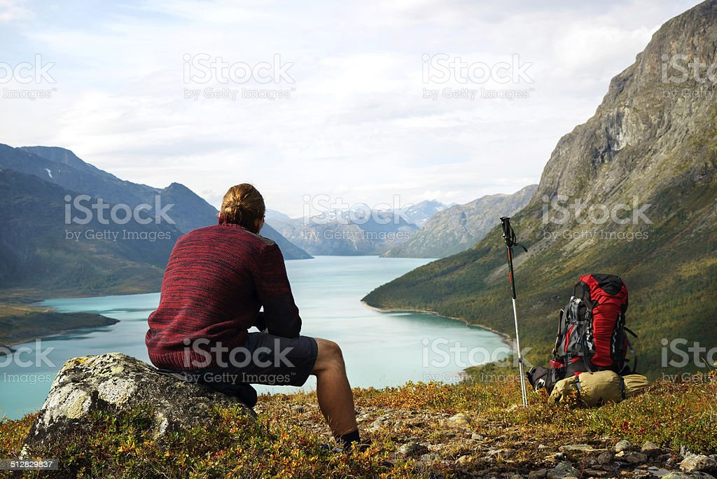 Scenic view of lake Gjende in the Jotunheimen national park stock photo