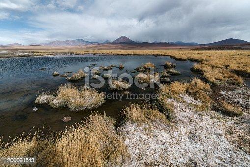 Scenic view of lake in Atacama desert in Chile