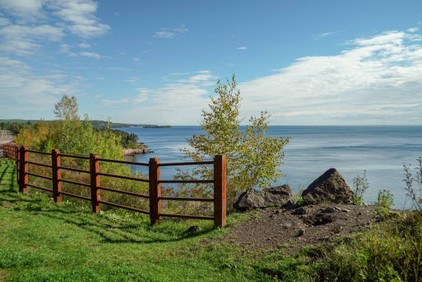 Scenic View of Lake Superior from an Overlook in Northern Minnesota stock photo