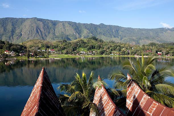 Scenic view of lake toba samosir in Sumatra, Indonesia stock photo