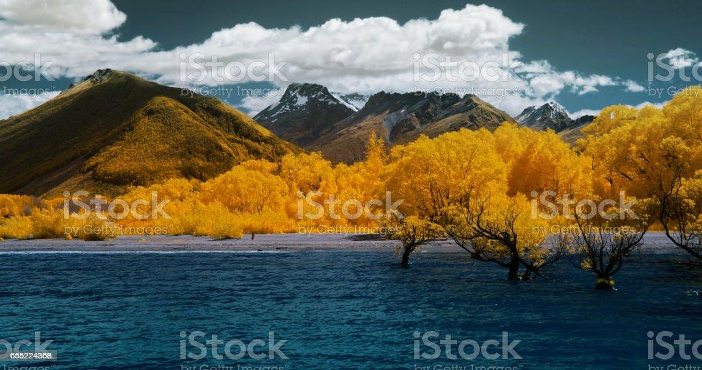 Scenic view of Lake  Wakatipu, New Zealand stock photo