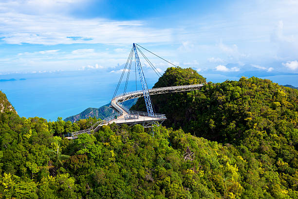 a scenic view of langkawi sky bridge - walkway and bridge stock photos and pictures
