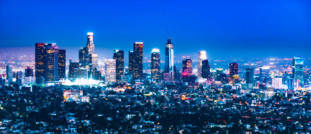 scenic view of Los Angeles skyscrapers at night,California,usa. stock photo