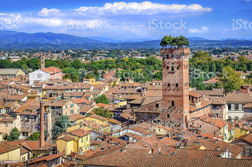Scenic view of Lucca and Guinigi tower stock photo