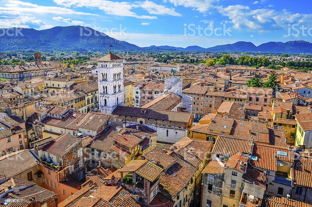 Scenic view of Lucca village in Italy stock photo