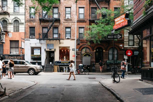 Scenic view of MacDougal Street in New York stock photo