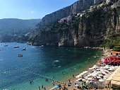 Cap D'Ail/France - beautiful view of Mala Beach at Cap D'Ail, French Riviera, with people