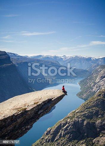 man sitting on trolls tongue rock in norway