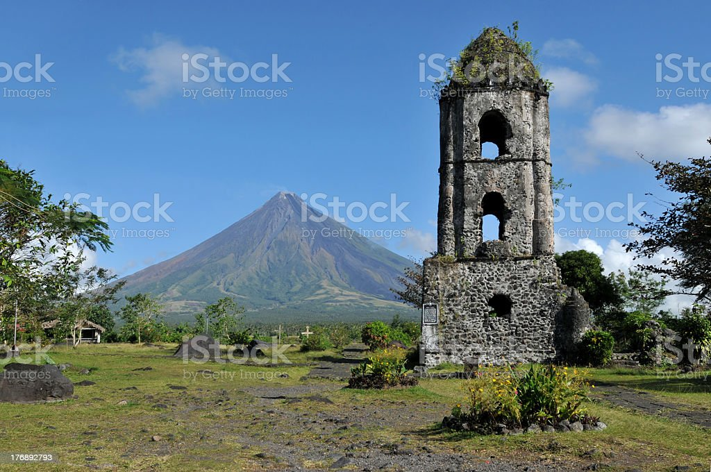 A scenic view of Mayon Volcano stock photo