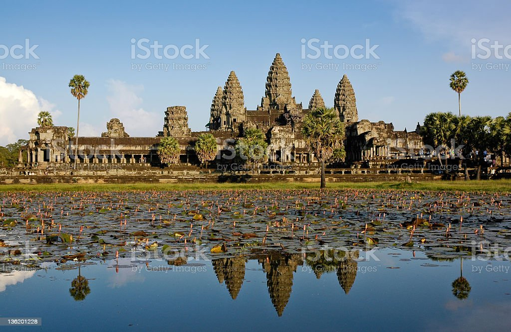 Scenic view of mirrored Angkor Vat in Cambodia stock photo