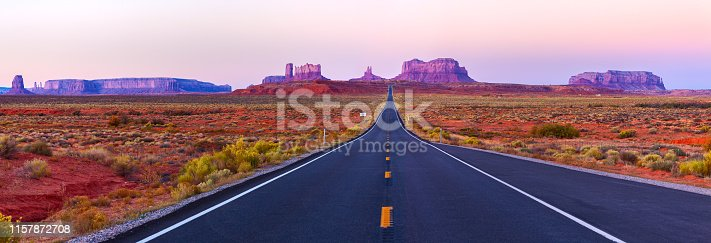 Scenic view of Monument Valley in Utah at twilight, USA.